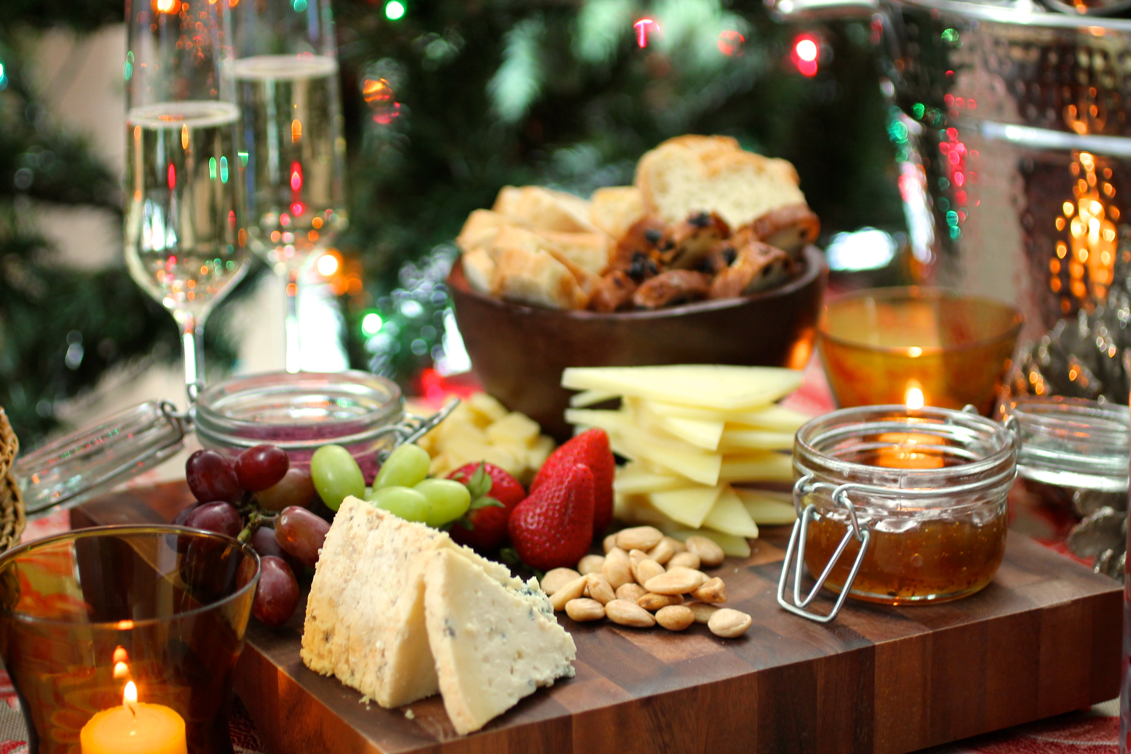 Holiday cheese board with fruit and nuts