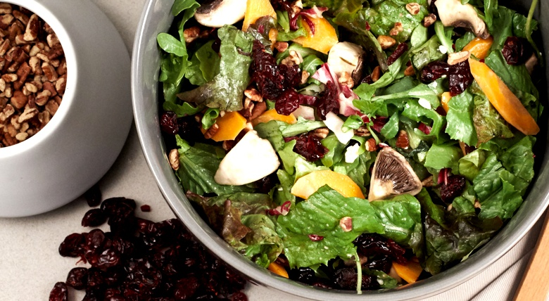 Cranberry, pecan and feta salad for Thanksgiving