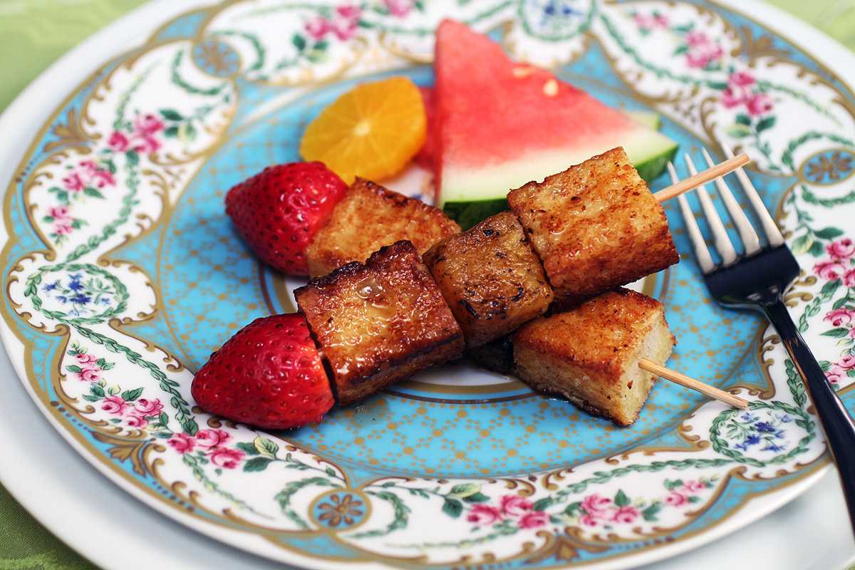 Full Size French Toast Kebobs with Grilled Pineapple and Strawberries