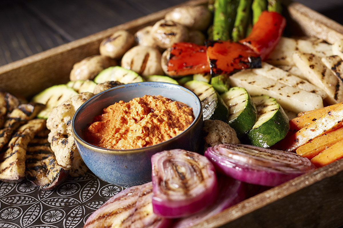 Entertain guests this holiday season with a catered holiday spread, including our grilled vegetables and dip