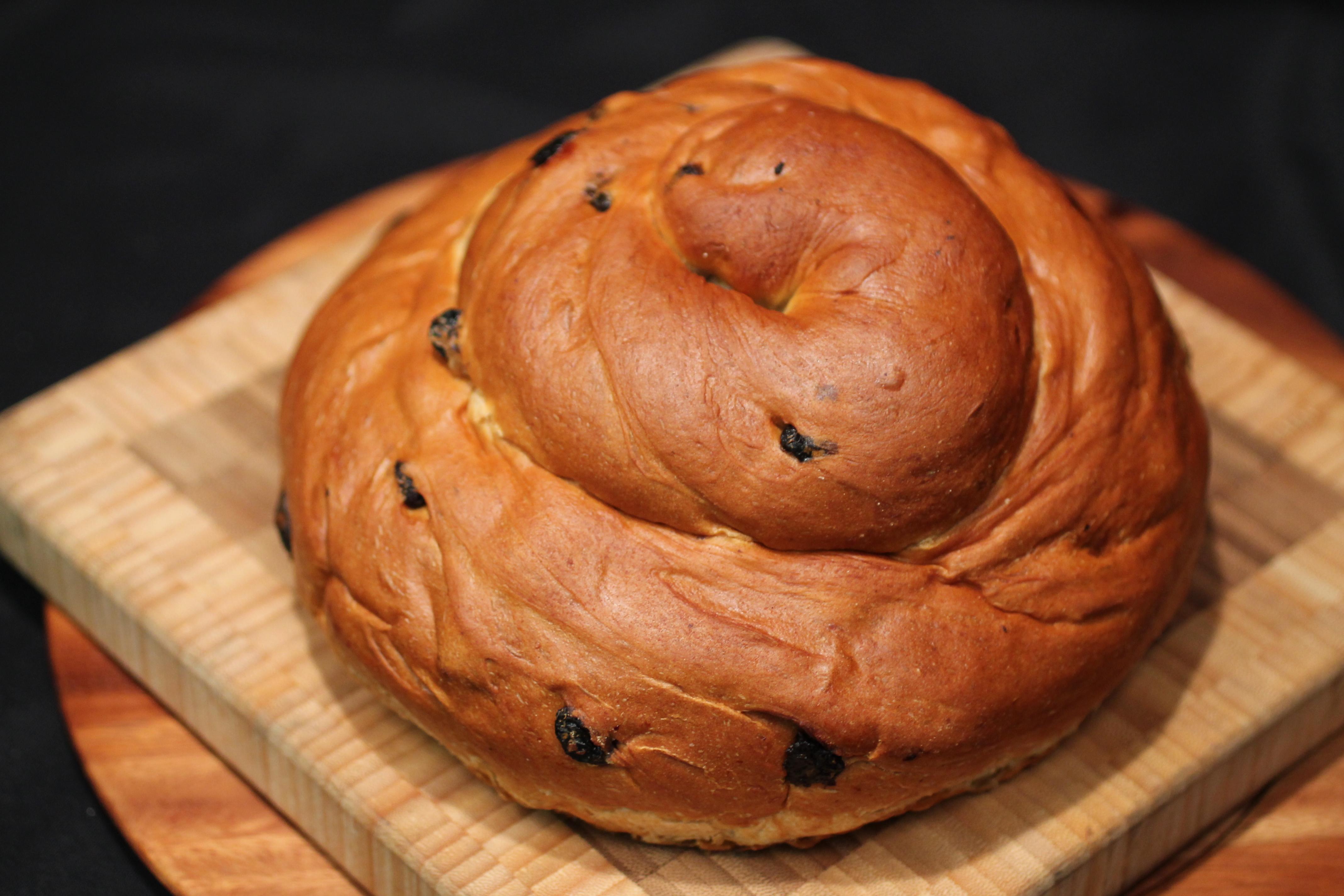 Challah bread with raisins for Rosh Hashanah