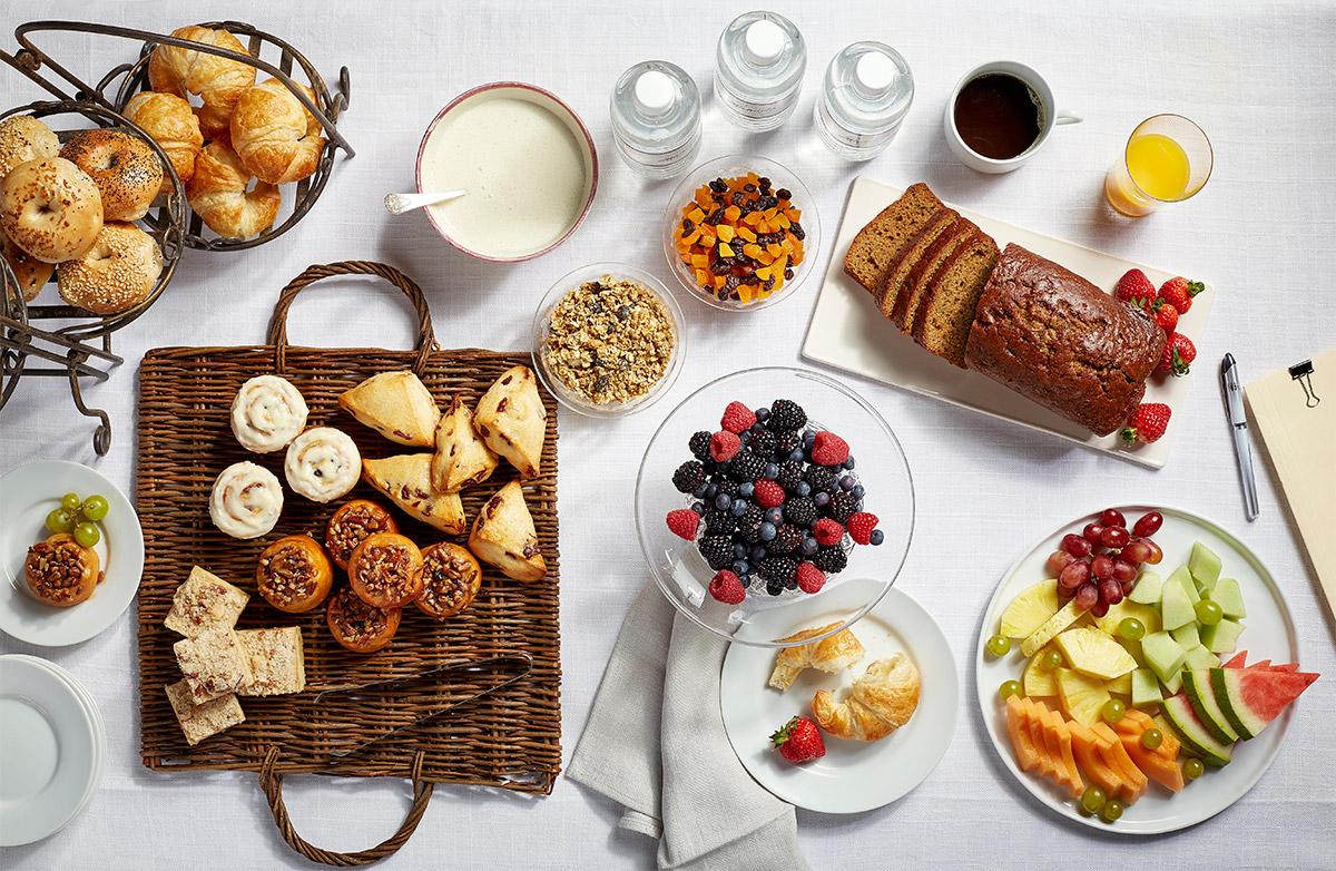 Breakfast catering spread