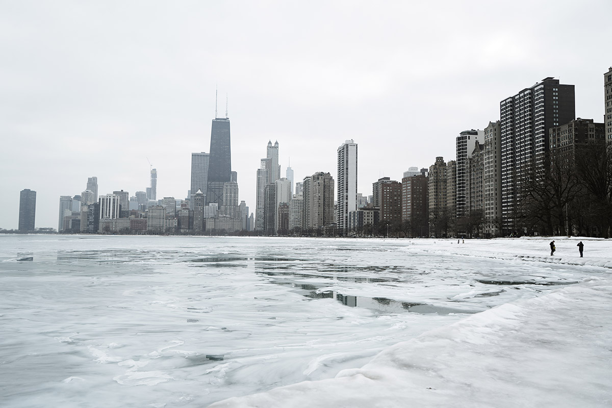 Chicago city skyline in the winter holiday season
