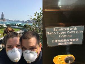 COVID masks and sanitizer station