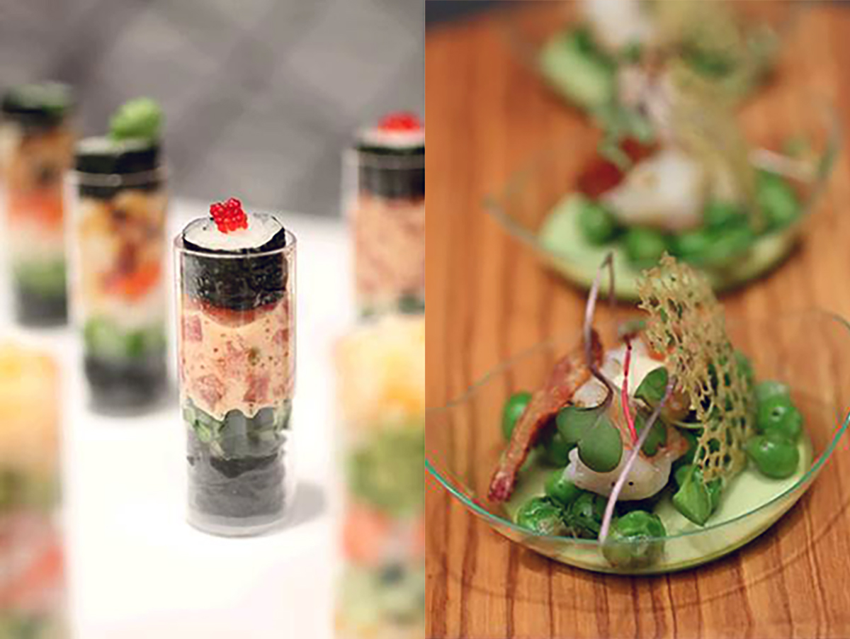 miniature spicy tuna maki push-pops and Sweet pea panna cotta
